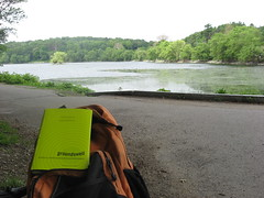 Book, Backpack, and Pond