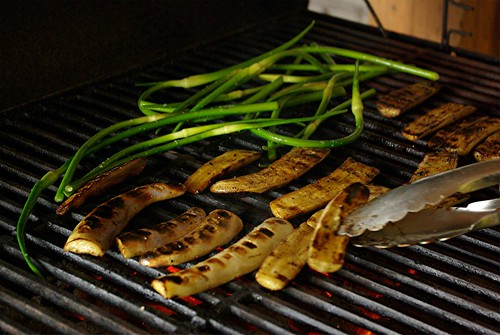 eggplant and garlic scapes
