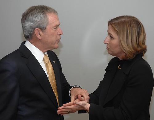 George Bush and Tzipi Livni