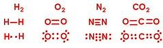 Covalent Bonding for Hydrogen, Oxygen, Nitrogen, and Carbon Dioxide