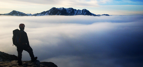 The author on Meall Dearg with the Bidean range across a sea of cloud