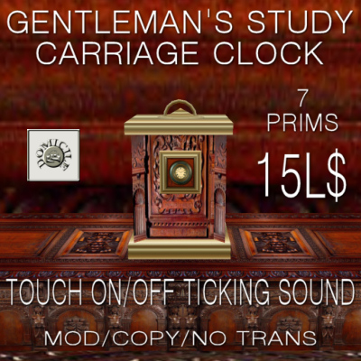 Domicile Gentleman's Study - Ticking Carriage Clock (Ad)