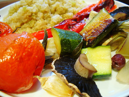 Roast Mediterranean vegetables with quinoa