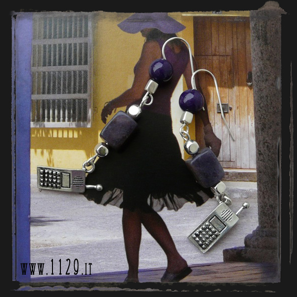 Orecchini viola cellulare - Mobile phone purple earrings LEVICELL