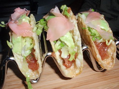 Tuna Tar Tar Tacos with  Avocado, Pickled Scallions and Ginger