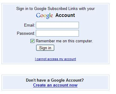 Google Subscribed Links - Log In