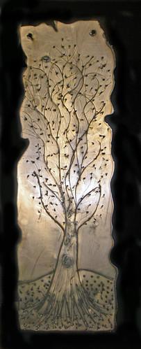 tall, skinny tree on metal, work in progress (c) 2009, Lynne Medsker