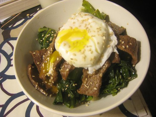 Rice bowl with steak and egg