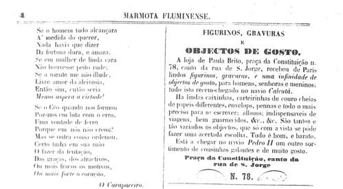 """Fragmento do jornal """"Marmota Fluminense"""", com texto de Machado de Assis"""