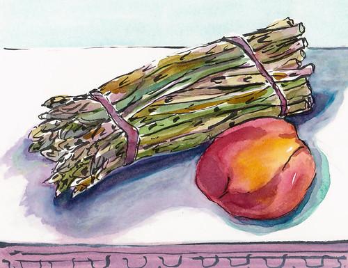 Aspargus & Peach