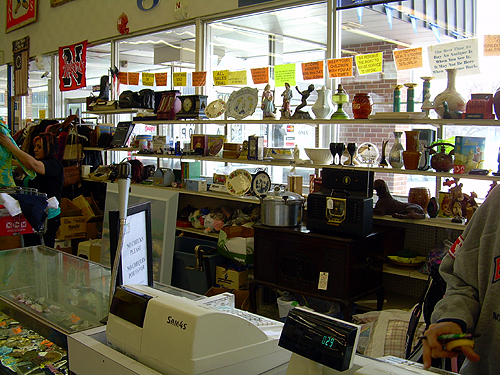 Cash register and window display