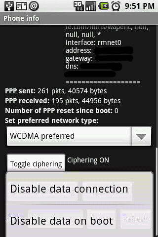10. Phone Info menu 2