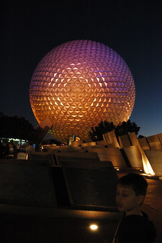 Night shot of Epcot ball