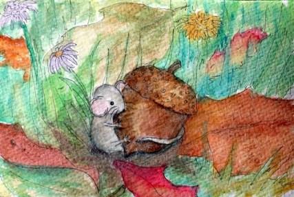 Autumn Mouse postcard