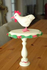 Springtime Pedestal with Perching Chicken