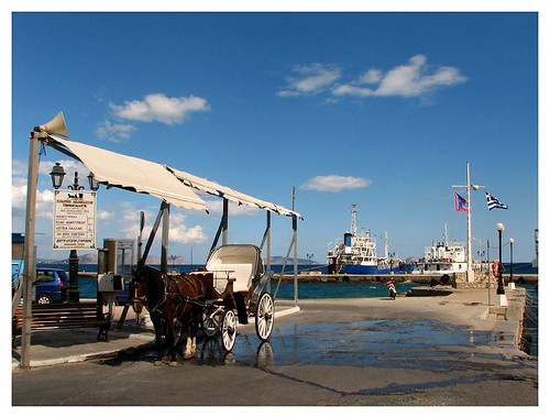 A horse buggy at Spetses Harbour by you.