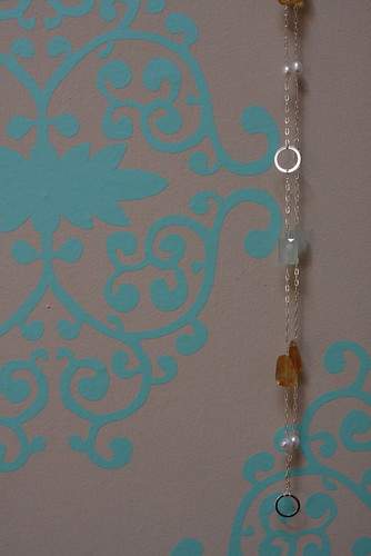 Citrine, Chalcedony, Pearl, and Sterling Chain detail 2