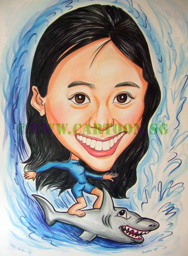 Surfer cartoon caricature drawing of a sporty girl