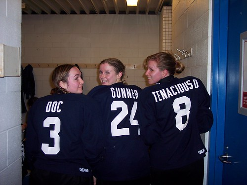 Me, Kim & Danielle, showing off our jerseys, during my first run as an Aggiette hockey player.