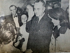 LBJ & Jackie Kennedy, close-up shot of vintage copy of The Augusta Chronicle, November 23rd, 1963, Augusta, Georgia, photo © 2008 by QuoinMonkey. All rights reserved.