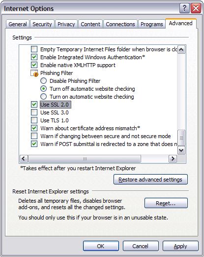 Internet Options 1 (SSL)