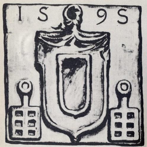 Escut que hi havia al portal de l'ermita de Santa Agnès. Dibuix de Josep Rigol (1927)