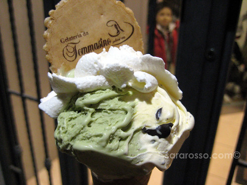 Pistachio and Cream Gelato and Whipped Cream from Gelateria da Tommasino in Puglia, Italy