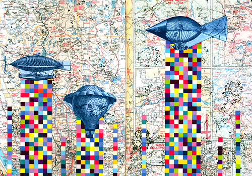 Weekly moleskin collage - airships