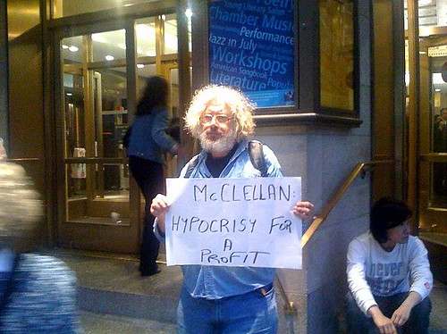 Protestor in front of the 92Y during the Scott McClellan/Dan Rather Interview