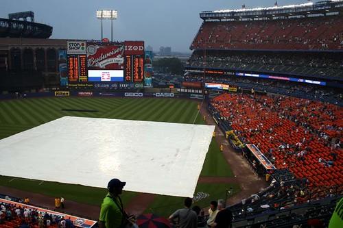 rain delay at Shea...