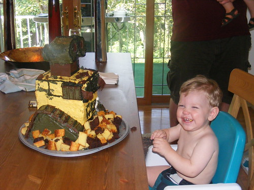 Wall-E Cake!  and Alex eating him