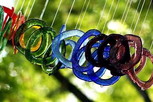 A SET OF FUSED GLASS WINDCHIMES