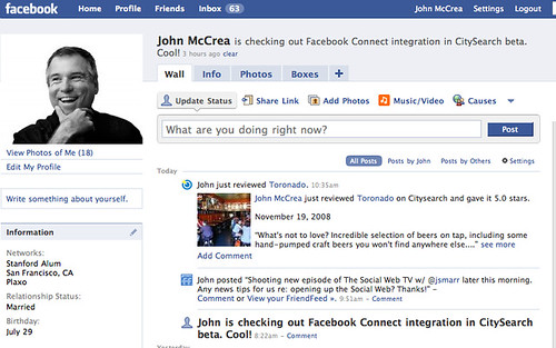 CitySearch Review on my Facebook Profile