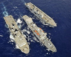 HMS+Albion%2C+RFA+Fort+Rosalie+and+HMS+Ocean+Conduct+a+Replenishment+at+Sea+During+Ex+Cypriot+Lion
