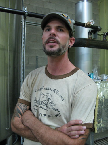 Driftwood Brewery brewmaster, Jason Meyer, talks about his plans for brewing various styles of beer for a constantly-changing offering (Photo © 2008 Rick Green).