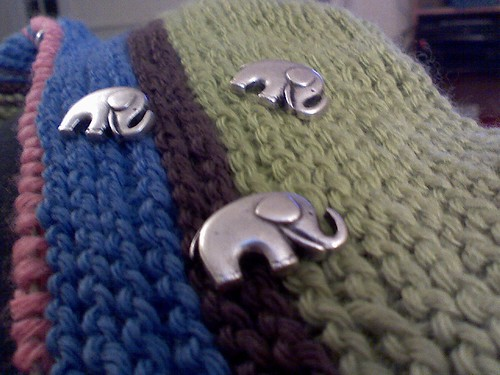 elephant buttons from cranberry fibers