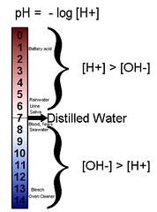 The pH scale, denoting the negative log of [H+]