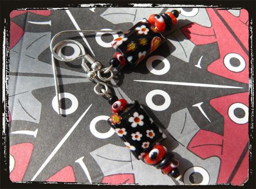Orecchini fatti a mano con millefiori e murrine - Lampwork Handmade Earrings AMHCMUMF