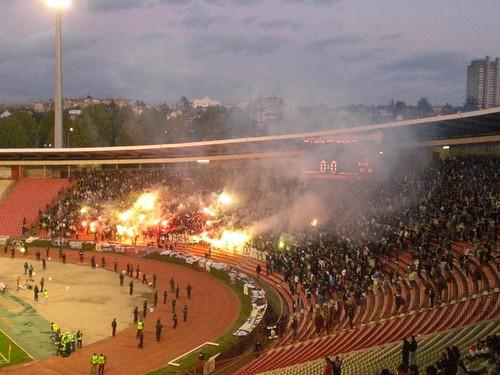 The Partizan Fans Celebrate A Goal