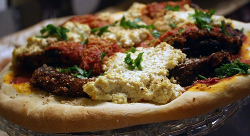 whole eggplant parm pizza