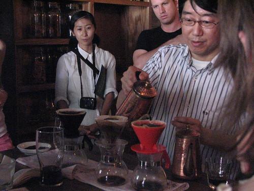 Koji Prepares Japanese pourover coffee