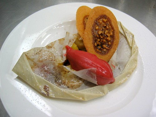Warm Fruit Papillotte with Raspberry Sorbet and Spiced Tuile
