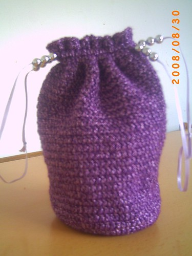 Purple Metallic Draw-string Wristlet Purse