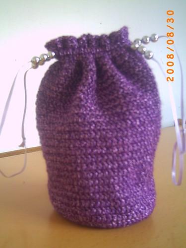 Purple Metallic Draw-string Wristlet Purse