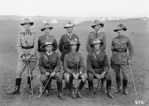 Group portrait of unidentified officers of the 1st Australian Light Horse Brigade.