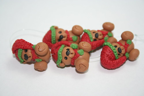 Christmas Teddy Bears with Red and Green Hats by you.