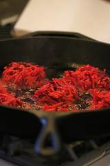 Sweet Potato Beet Latkes frying