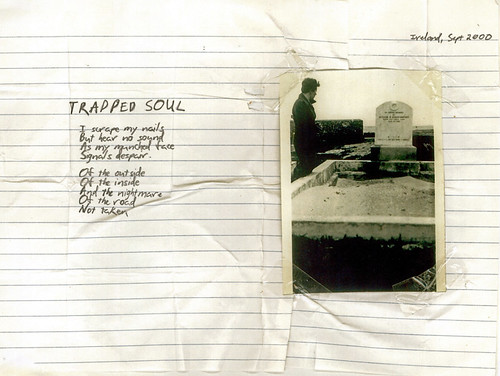 TRAPPED SOUL: One of my earliest layouts. The initial photograph was replaced by one of Johns when he sent over an envelope full of wonderfully aged black+white / sepia pictures.