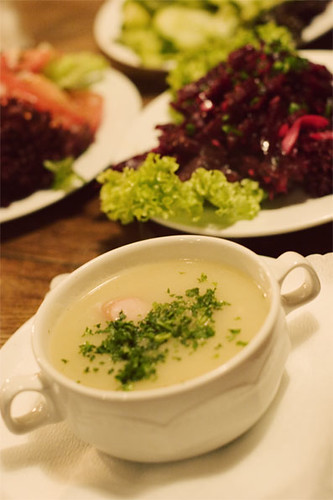 Potato soup w/ salad