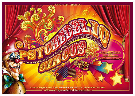 psychedelic circus festival europe 2008 flyer